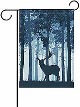 Wald mit Hirsch doppelseitige Polyester Garten