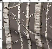 Wald Tapete, Bäume, Birken Stoffe - Individuell