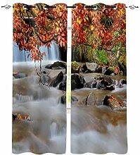 Wald Wasserfall Herbst Moderne Fenster Vorhänge
