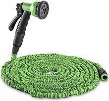 Waldbeck • Water Wizard 15 • flexibler Gartenschlauch • Wasserschlauch • Flexschlauch • Bewässerung • 8 Funktionen • dehnbar bis 15 Meter • Sprühbrause • selbstaufrollend • Wasserhahn Adapter • Schnellkupplung • knickfest • federleicht • grün