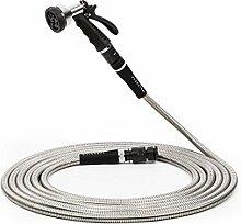 Waldbeck Steelflow 50 • Gartenschlauch • Bewässerungsschlauch • Flexschlauch • Edelstahl • 8 unterschiedliche Sprühfunktionen • Schnellkupler • Länge: 15 m