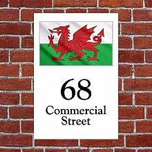 Walisische Flagge Wales House Schild wetterfest