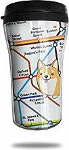 Walking Tube London Karte Glas Kaffeebecher Travel