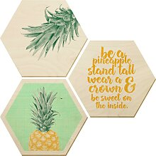 Wall-Art Bilder-Collage Ananas, (Set) B/H/T: 25 cm