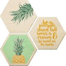 Wall-Art Bilder-Collage Ananas, (Set) beige 35 cm