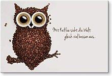 Wall-Art Küchenrückwand Kaffee Eule mit Spruch
