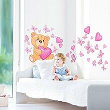 wall art R00011 Wandaufkleber für Kinder Bär Magier, bunt, 40 x 100 x 0,1 cm