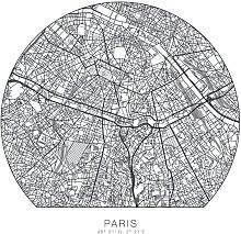 Wall-Art Wandtattoo Paris Tapete runder Stadtplan