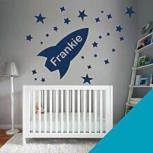 wall art Wandtattoo Personalisierte–Jungen Kinderzimmer–Rocket, Stars, Namen–Botschaft ES uns einfach mit dem Namen. -, himmelblau, Moyen (580x290mm)