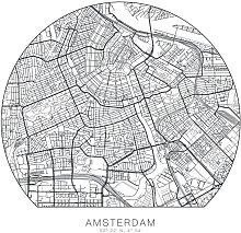 Wall-Art Wandtattoo Stadtplan Amsterdam Tapete (1