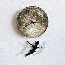 Wall Clock Creative Moon Dynamic Swing Living