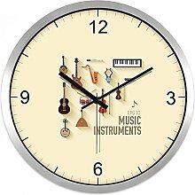 Wall Clock Creative Musical Instrument Mute Wand Musik Klassenzimmer Persönlichkeit Uhren Tisch, 30 cm