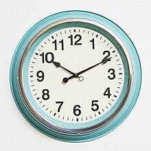 Wall Clock Pastoral Wohnzimmer Creative Wall bedroom Dekoration Mute modern Clock Fashion minimalistischen Retro Big Clock 35 cm