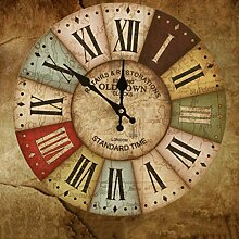 Wall Clock WTL Buntes Leben Crafts Mittelmeer Wohnzimmer Retro Stereoscopic Home Decoration Kreative Wanduhr-14in (Muster : O)