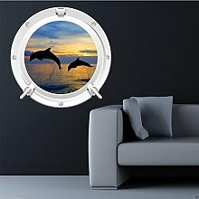 Wall Smart Designs Dolphin Sea Bullauge Full Farbe