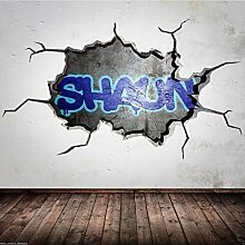 Wall Smart Designs Personalisiert Name Cracked 3D