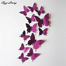 Wall Sticker 4 Farben 12 Stück Wand Aufkleber Aufkleber Schmetterlinge 3D-Spiegel, an der Wand Kunst Home Decor Hochwertige PVC-Tapeten D8, Hot Pink, Medium