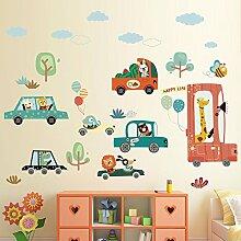 Wall Sticker die niedlichen Tiere kinder Bett Zimmer in Baby's Schlafzimmer cartoon Auto Zubehör Selbstklebende,01 eingerichte