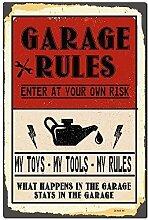 WallAdorn Garage Rules Carport Eisen Poster