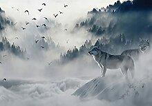Wallarena Fototapete Wolf Tiere Vögel Landschaft