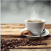 Wallario Acrylglasbild Heiße Tasse Kaffee mit