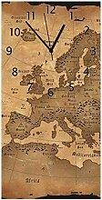 Wallario Design Wanduhr Alte Weltkarte Karte von