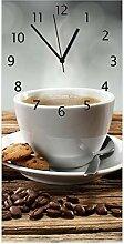 Wallario Design Wanduhr Heiße Tasse Kaffee mit