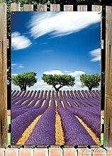 Wallario Garten-Poster Outdoor-Poster - Abstraktes lila Blumenfeld mit Lavendel in Premiumqualität, Größe: 61 x 91,5 cm, für den Außeneinsatz geeigne