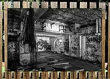 Wallario Garten-Poster Outdoor-Poster - Alte verlassene Fabrik in schwarz weiß mit Graffiti in Premiumqualität, Größe: 61 x 91,5 cm, für den Außeneinsatz geeigne