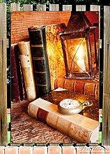 Wallario Garten-Poster Outdoor-Poster - Antike Laterne mit Kerze, alten Büchern und Taschenuhr in Premiumqualität, Größe: 61 x 91,5 cm, für den Außeneinsatz geeigne