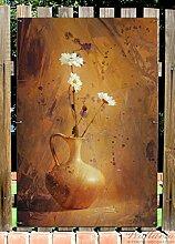 Wallario Garten-Poster Outdoor-Poster - Antike Vase mit Blumen in Premiumqualität, Größe: 61 x 91,5 cm, für den Außeneinsatz geeigne