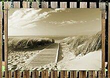 Wallario Garten-Poster Outdoor-Poster - Auf dem Holzweg zum Strand in Sepiafarben in Premiumqualität, Größe: 61 x 91,5 cm, für den Außeneinsatz geeigne