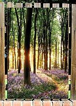 Wallario Garten-Poster Outdoor-Poster - Blaue Hasenglöckchen im Wald mit Sonnenstrahlen in Premiumqualität, Größe: 61 x 91,5 cm, für den Außeneinsatz geeigne