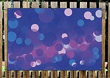 Wallario Garten-Poster Outdoor-Poster - Blaue Kreise mit pink - harmonisches Muster in Premiumqualität, Größe: 61 x 91,5 cm, für den Außeneinsatz geeigne