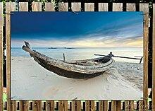 Wallario Garten-Poster Outdoor-Poster - Fischerboot am Strand mit Sonnenuntergang in Premiumqualität, Größe: 61 x 91,5 cm, für den Außeneinsatz geeigne