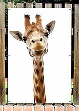 Wallario Garten-Poster Outdoor-Poster - Giraffenkopf in Premiumqualität, Größe: 61 x 91,5 cm, für den Außeneinsatz geeigne