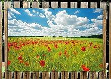 Wallario Garten-Poster Outdoor-Poster - Grüne Wiese mit Mohnblumen in Premiumqualität, Größe: 61 x 91,5 cm, für den Außeneinsatz geeigne