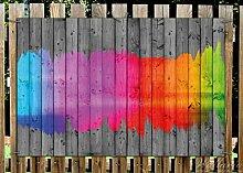 Wallario Garten-Poster Outdoor-Poster - Holzpaneel - Bemaltes buntes Holz in Premiumqualität, Größe: 61 x 91,5 cm, für den Außeneinsatz geeigne