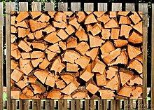 Wallario Garten-Poster Outdoor-Poster - Holzstapel gehackt - Holzscheite für den Kamin in Premiumqualität, Größe: 61 x 91,5 cm, für den Außeneinsatz geeigne