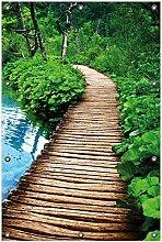 Wallario Garten-Poster Outdoor-Poster, Holzweg im