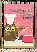 Wallario Garten-Poster Outdoor-Poster - Lustige Eule beim Kochen mit Kochmütze in Premiumqualität, Größe: 61 x 91,5 cm, für den Außeneinsatz geeigne