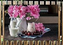 Wallario Garten-Poster Outdoor-Poster - Milch mit Kirschen zum Frühstück mit rosa Blumenarrangement in Premiumqualität, Größe: 61 x 91,5 cm, für den Außeneinsatz geeigne
