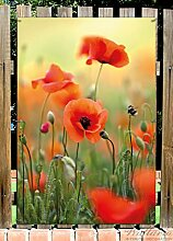 Wallario Garten-Poster Outdoor-Poster - Mohnblumenblüten in Premiumqualität, Größe: 61 x 91,5 cm, für den Außeneinsatz geeigne