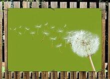 Wallario Garten-Poster Outdoor-Poster - Pusteblume auf der Wiese mit fliegenden Samen in Premiumqualität, Größe: 61 x 91,5 cm, für den Außeneinsatz geeigne