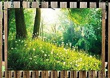 Wallario Garten-Poster Outdoor-Poster - Pusteblumen im Wald mit einfallenden Sonnenstrahlen in Premiumqualität, Größe: 61 x 91,5 cm, für den Außeneinsatz geeigne