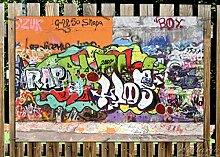 Wallario Garten-Poster Outdoor-Poster - RAP-Graffiti- Wand mit verschiedenen Tags in Premiumqualität, Größe: 61 x 91,5 cm, für den Außeneinsatz geeigne