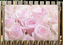 Wallario Garten-Poster Outdoor-Poster - Rosafarbene Rosenblüten im Strauß in Premiumqualität, Größe: 61 x 91,5 cm, für den Außeneinsatz geeigne
