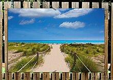 Wallario Garten-Poster Outdoor-Poster - Sandweg zum blauen Meer mit blauem Himmel in Premiumqualität, Größe: 61 x 91,5 cm, für den Außeneinsatz geeigne