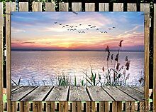 Wallario Garten-Poster Outdoor-Poster - Seepanorama mit Schilf und fliegenden Vögeln in Premiumqualität, Größe: 61 x 91,5 cm, für den Außeneinsatz geeigne