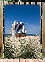 Wallario Garten-Poster Outdoor-Poster - Strandkorb in Premiumqualität, Größe: 61 x 91,5 cm, für den Außeneinsatz geeigne